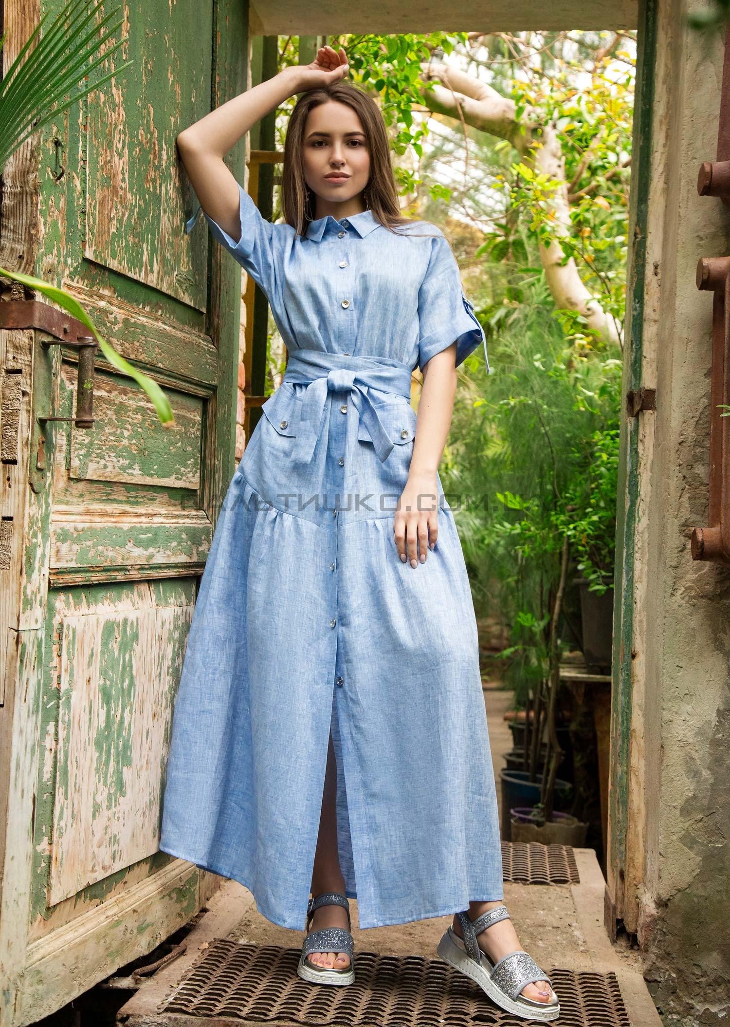 Платье-халат голубое
