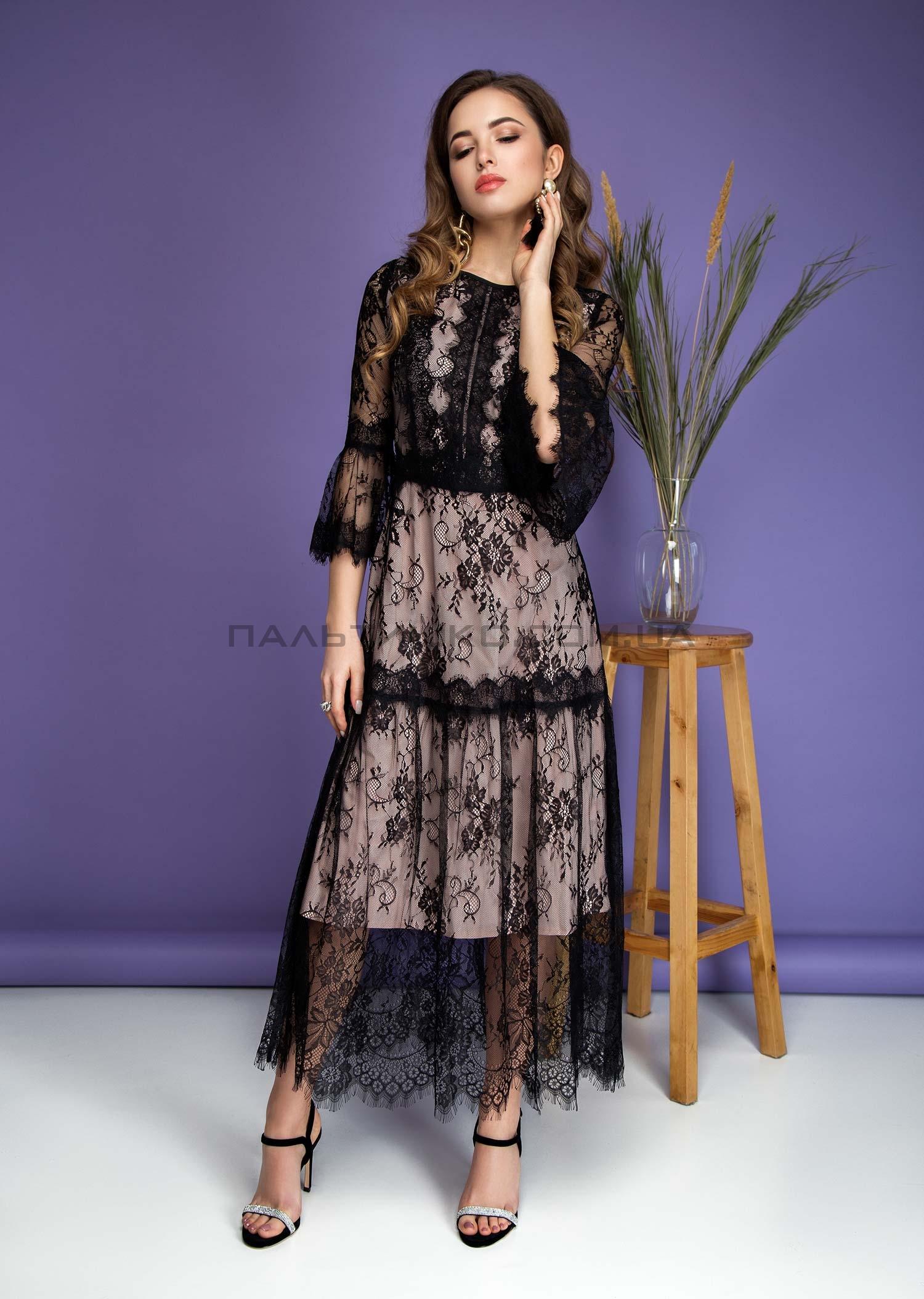 Платье гипюровое черное