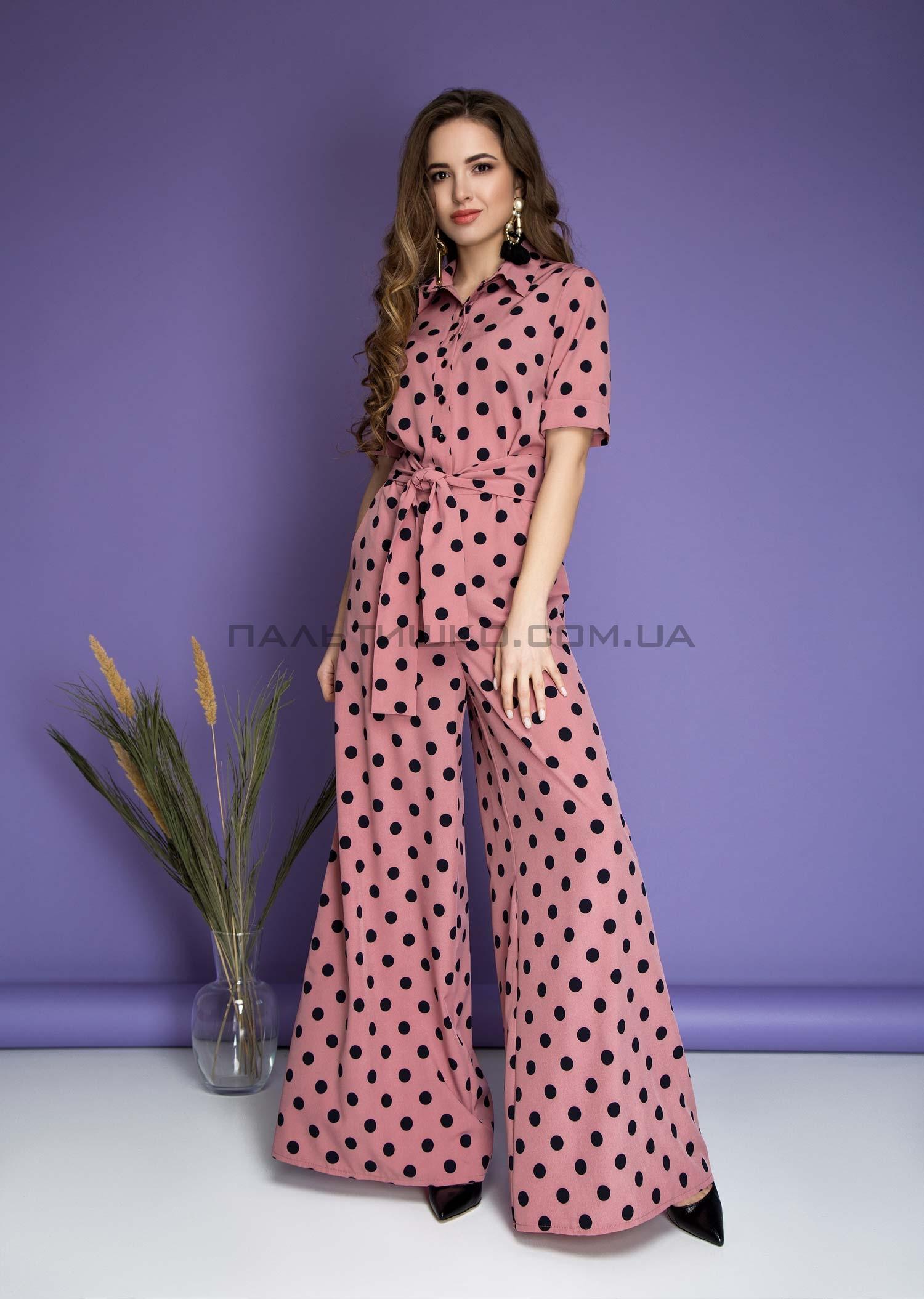 Комбинезон розовый в горошек