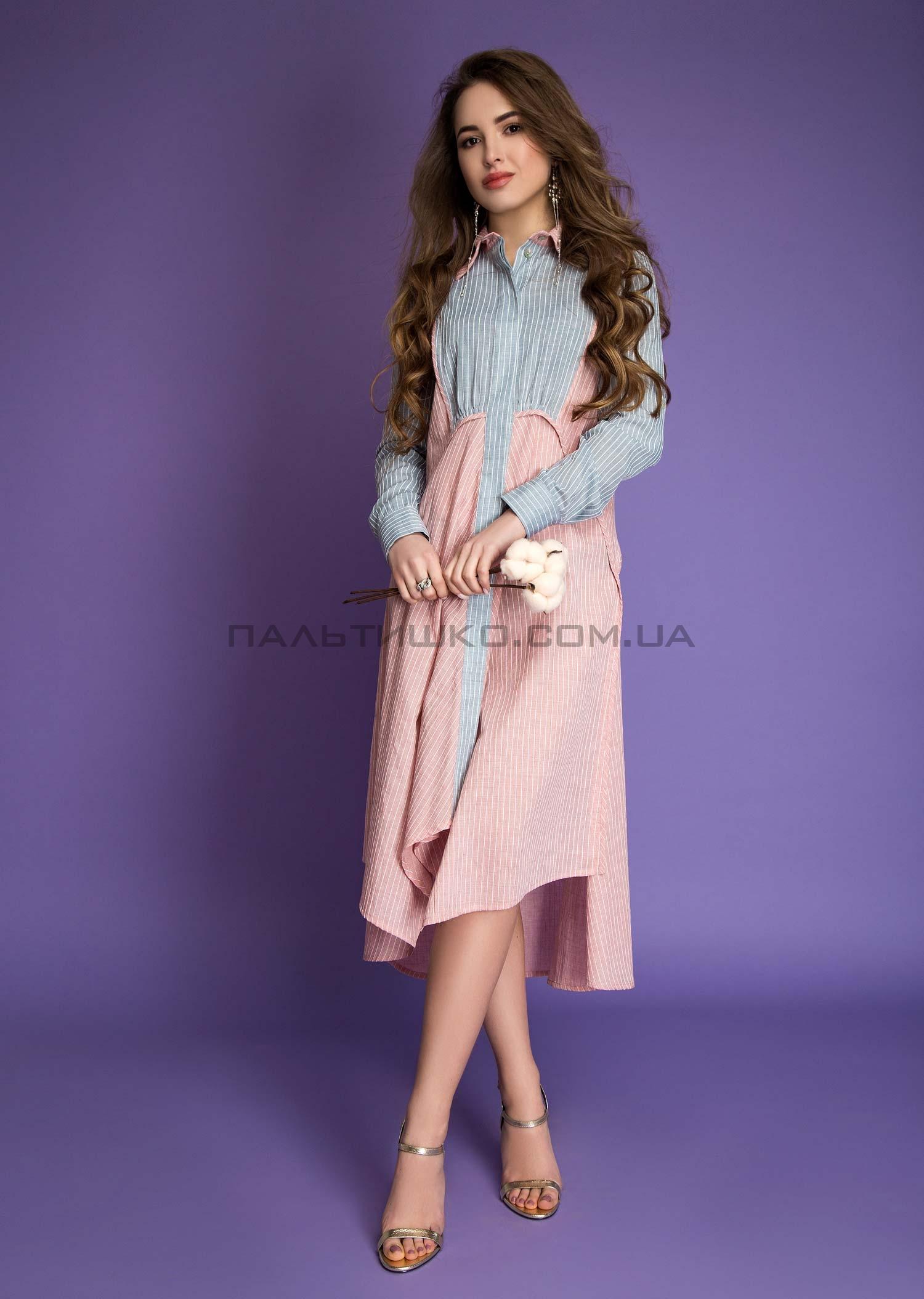 Платье серо-розовое разнодлинное