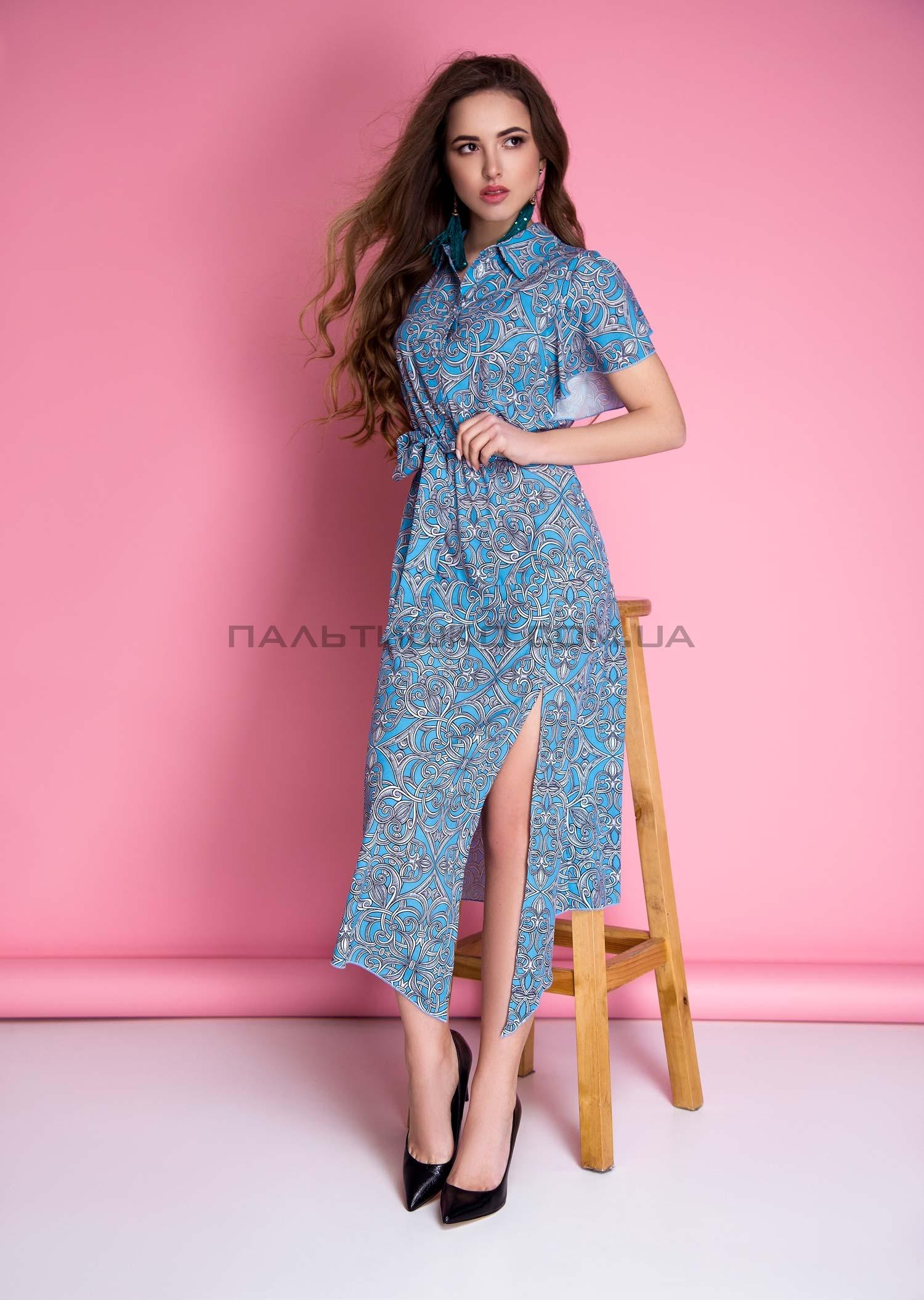 Платье синее с разрезом