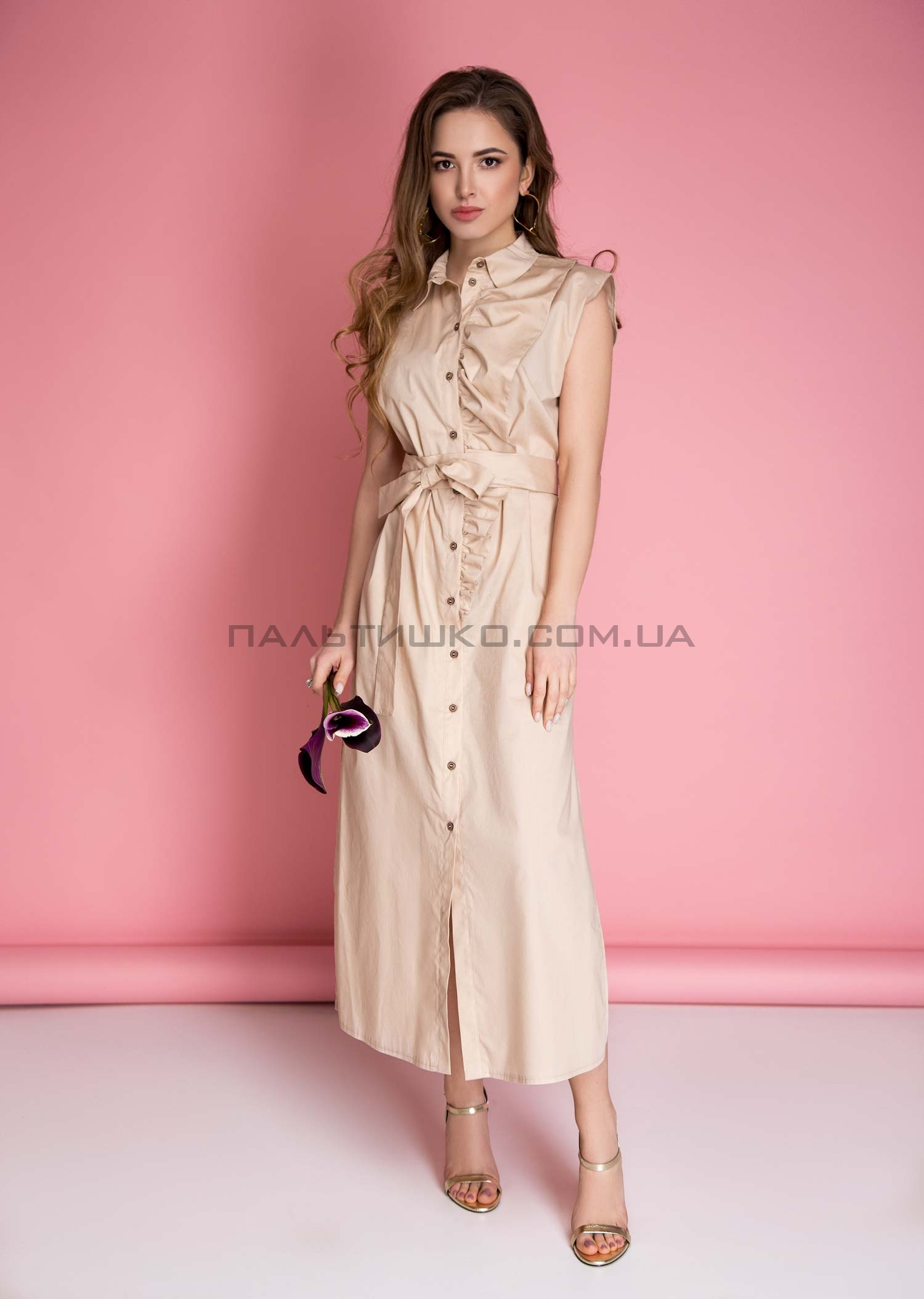 Платье бежевое с оригинальной оборкой